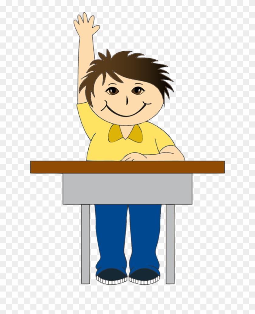 Boy At School Desk Clipart - Boy In Class Clipart #7204