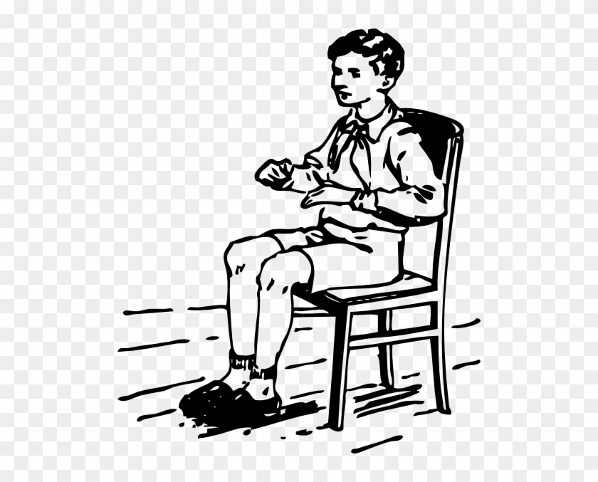 Boy Sitting In Chair Clip Art - Sitting Clip Art Black And White #7232
