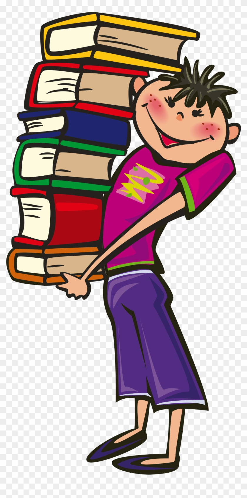 Big Image - Student Carrying Books Clipart #7236