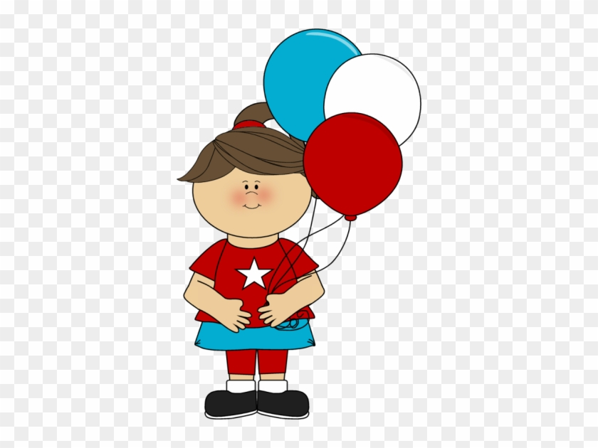 Girl Celebrating July 4th - Girl With Balloons Clipart #7255