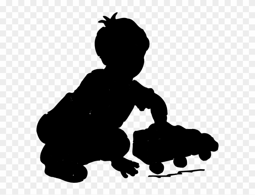 Boy Playing Silhouette Clip Art - Child Playing Silhouette #7261