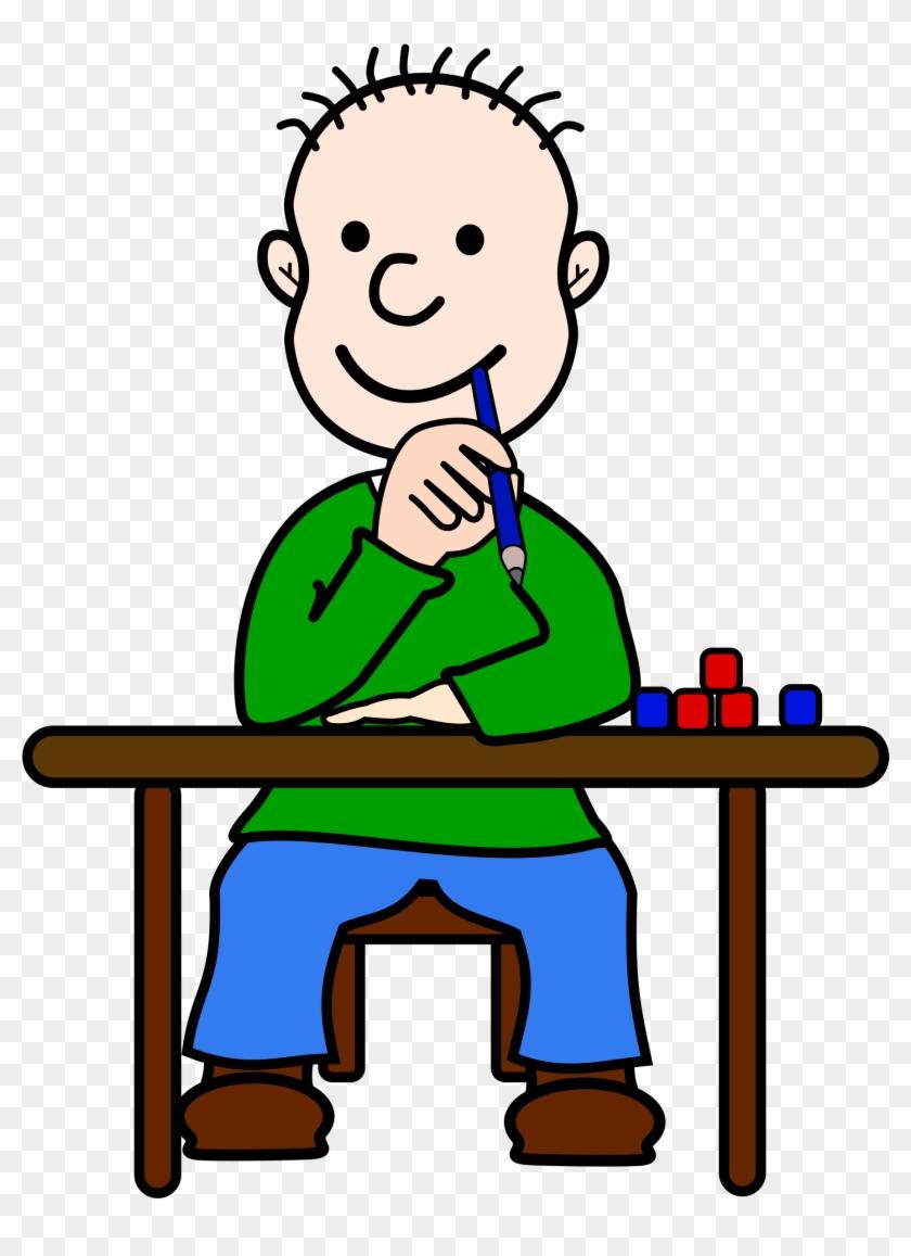 Comic Boy Oli At School By @frankes, Boy Sitting At - Elev Tegning #7274