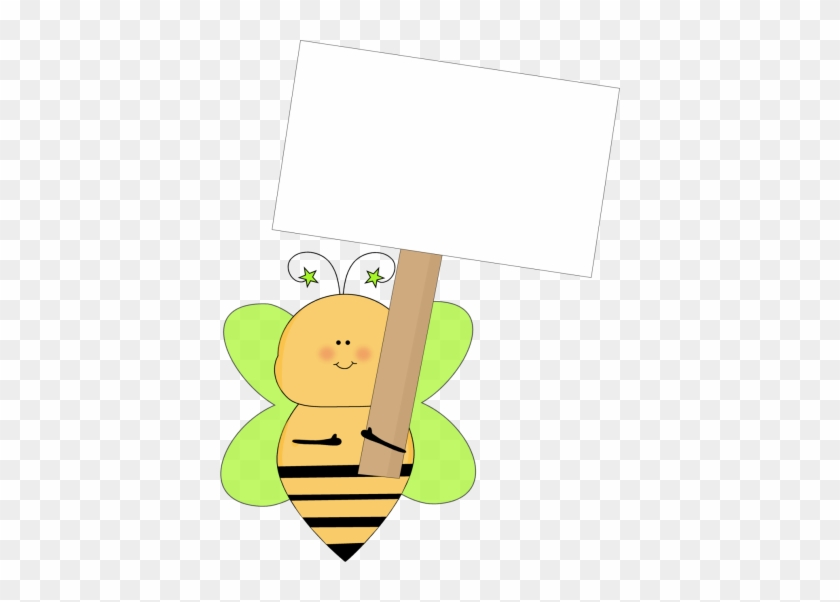 Green Star Bee Holding A Blank Sign - Bee Holding Sign Clipart #7352