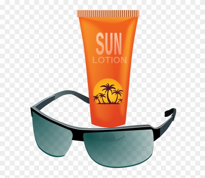 Summer Clipart Sun, Hot Weather, Beach And Bbq Graphics - Sun Cream And Sun Glasses #7365