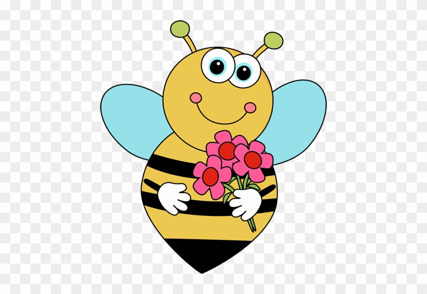 Cartoon Valentine's Bee With Flowers - Bees And Flowers Clipart #7443