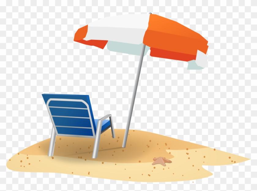 Clipart - Beach Chair And Umbrella Clipart #7471