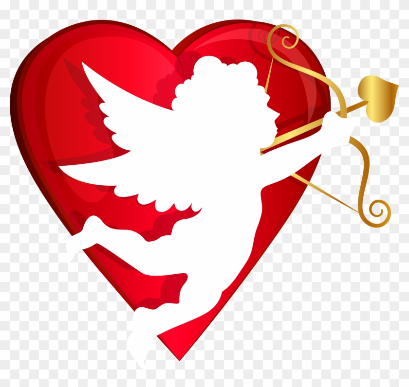 Red Heart Clipart With No Background - Valentines Day Cupid Png #7549