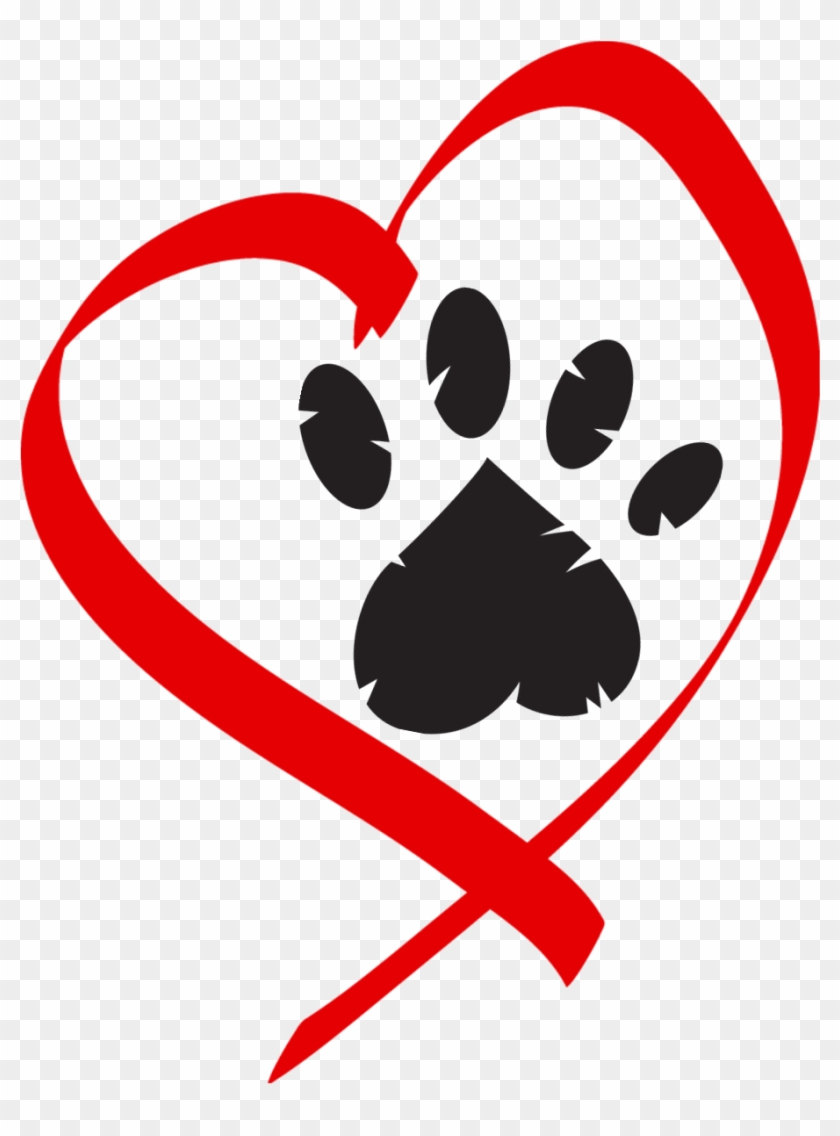 Heart Paw Print Clip Art - Paw Print In Heart Clip Art #7554