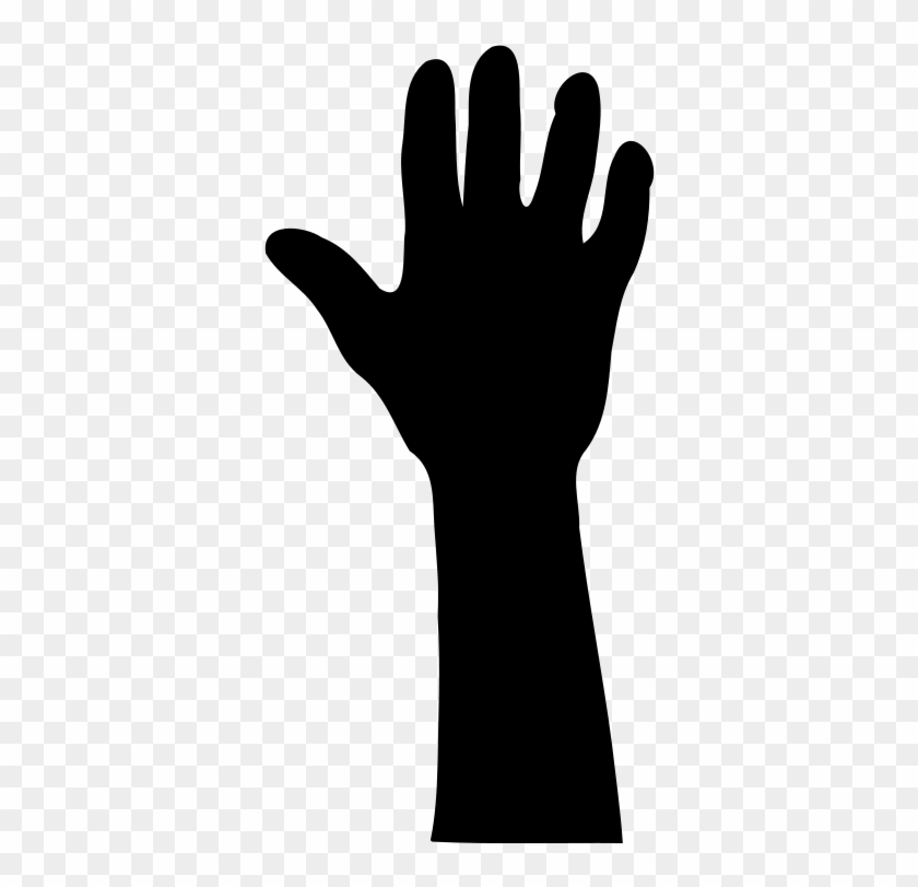 Free Raised Hand In Silhouette - Raising Hand Vector Png #7645