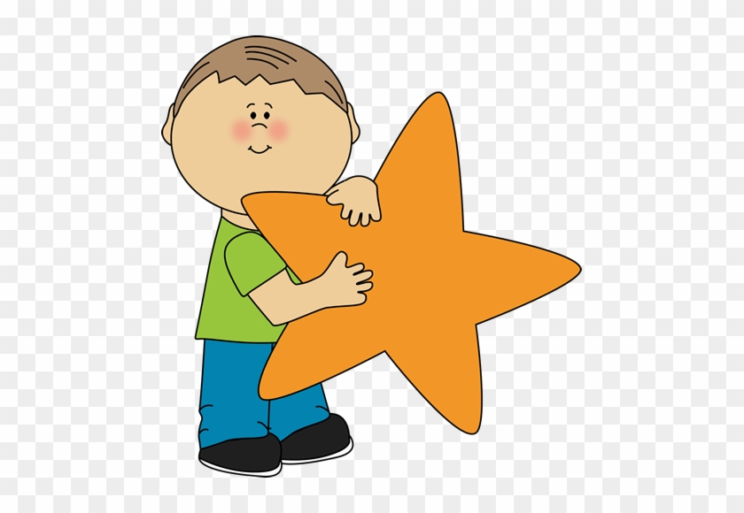 Star Clip Art An Orange Image Little Boy Holding - Kid Star Clipart #7677