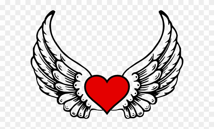 Wings N Heart Clip Art At Clker Com Vector Online Angel - Heart With Wings Vector #7695