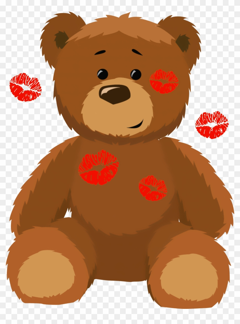 Cute Bear With Kisses Png Clipart Picture - Valentines Bear Clip Art #7768