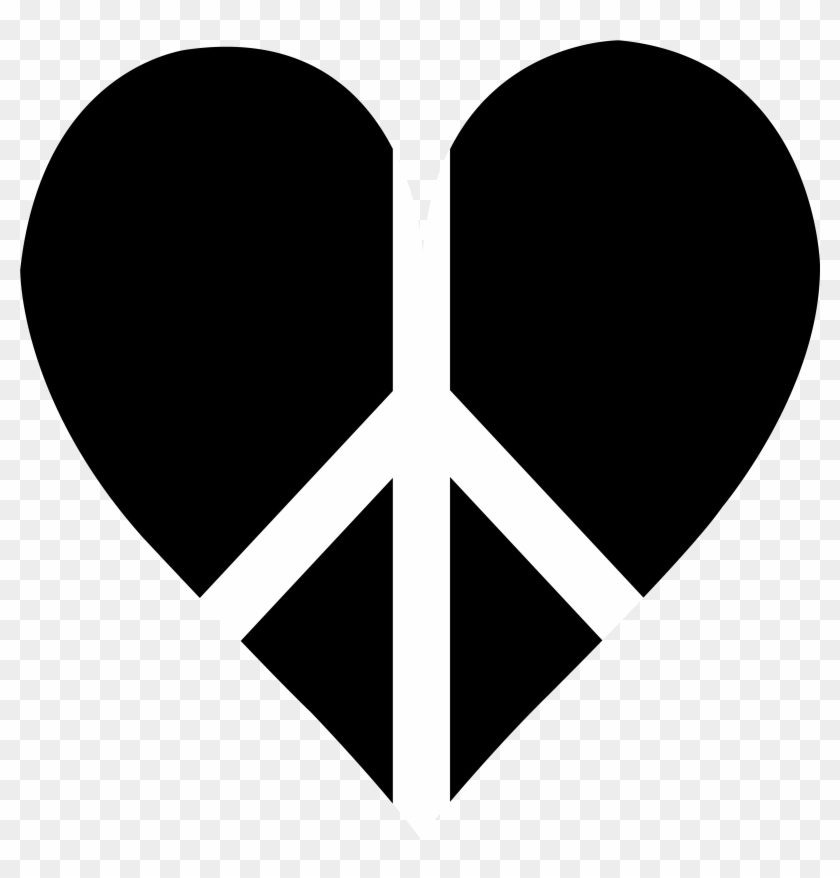 Black Heart Clip Art - Heart Peace Sign Png #7820