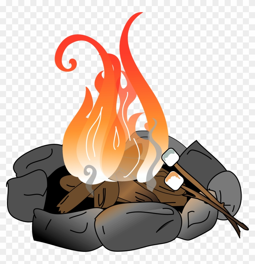 Bonfire Clipart Fire Pit Pencil And In Color Bonfire - Fire Pit Clip Art #7873