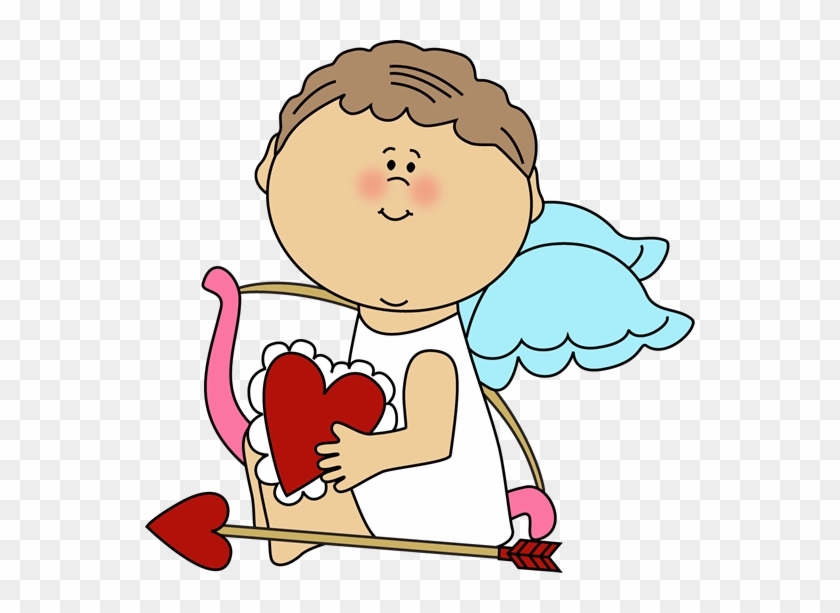 Cupid Holding A Valentine Heart - Valentines Clip Art Cupid #7922