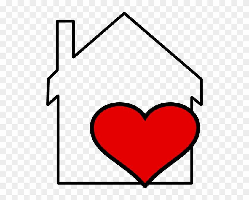 House And Heart Outline Clip Art At Clker Com Vector - House With A Heart #8038