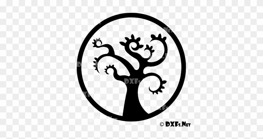 Modern Retro Tree Silhouette Dxf File For Cnc Cutting - Dxf Download Free #8091