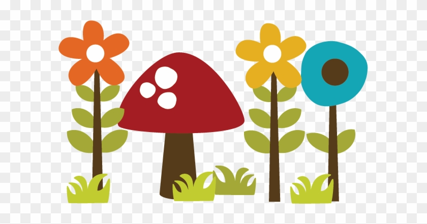Flowers With Mushroom Svg File For Scrapbooking Cardmaking - Mushroom And Flower Clipart #8095