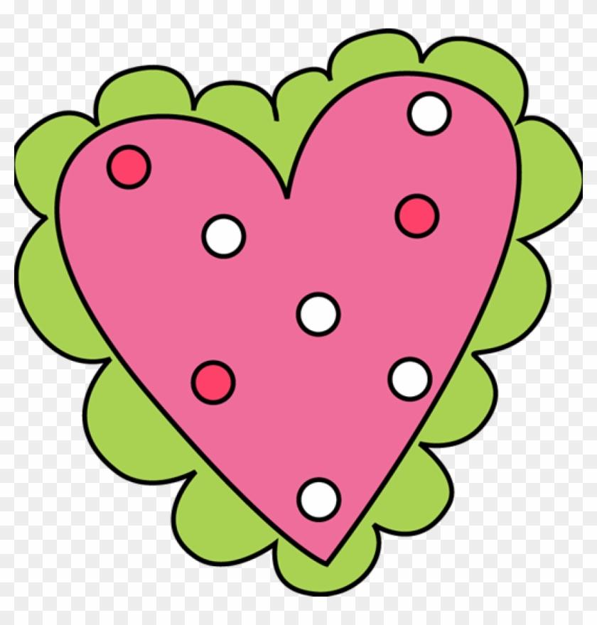 Pink And Green Valentine's Day Heart Clip Art - Valentine Clip Art #8098