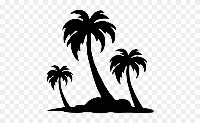 Palm Trees Die Cut Vinyl Decal Pv844 Cricut, Silhouettes - Palm Tree Drawing Simple #8138