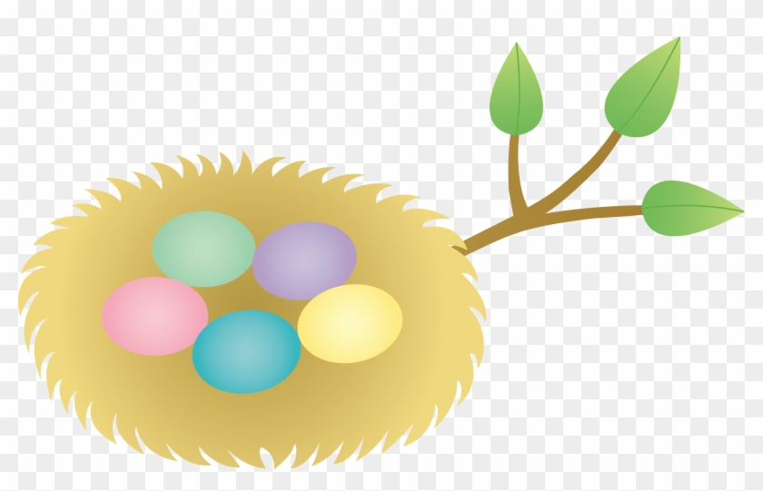 Easter Nest With Colorful Eggs - Cartoon Nest With Eggs #8200