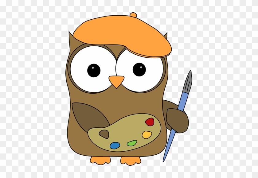 Owl French Artist Painter - Art Owl Clipart #8195