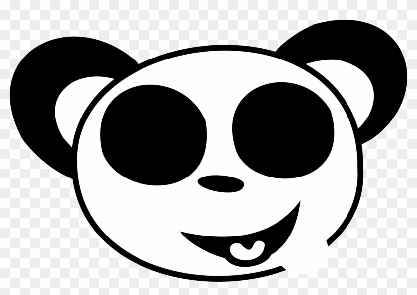 Smiley Face Clip Art Black And White - Panda Black And White Face #8213