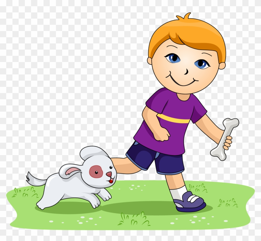 Pets Clipart For Kid - Boy And His Dog Clipart #8243