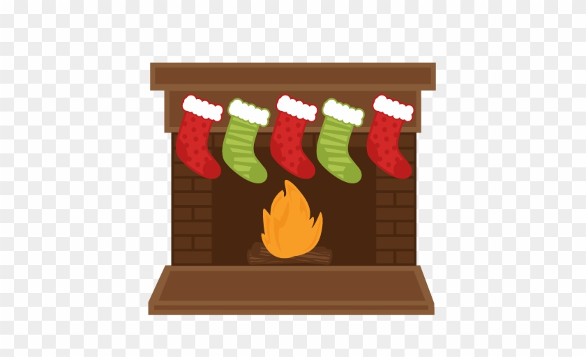 Christmas Fireplace Stockings Svg Scrapbook Shapes - Fireplace With Stockings Clipart #8245