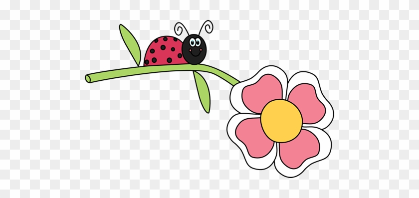 Ladybug On A Flower Clip Art - Ladybug On Flower Clipart #8279