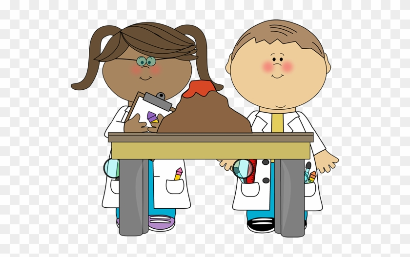 Kids With Volcano In Science Class - Science Class Clipart #8321