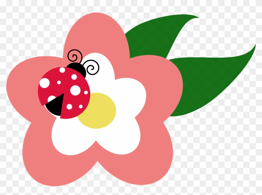 Pink Ladybug Clip Art - Ladybug On Flower Clipart #8333