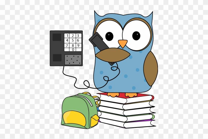 Owl Clip Art - Owl On The Phone #8531