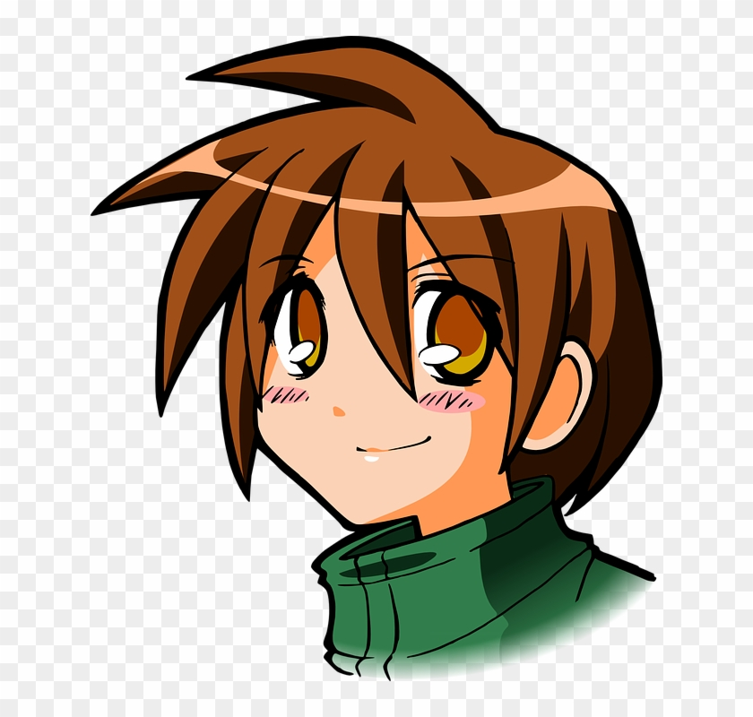 Head, Eyes, Brown, Boy, Kid, Girl, Character, Faces - Brown Hair Boy Cartoon #8563