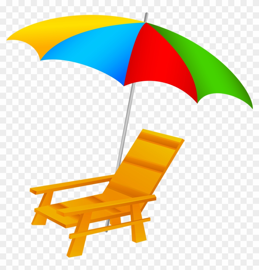 Beach Umbrella And Chair Png Clip Art - Beach Chair And Umbrella Clipart #8638