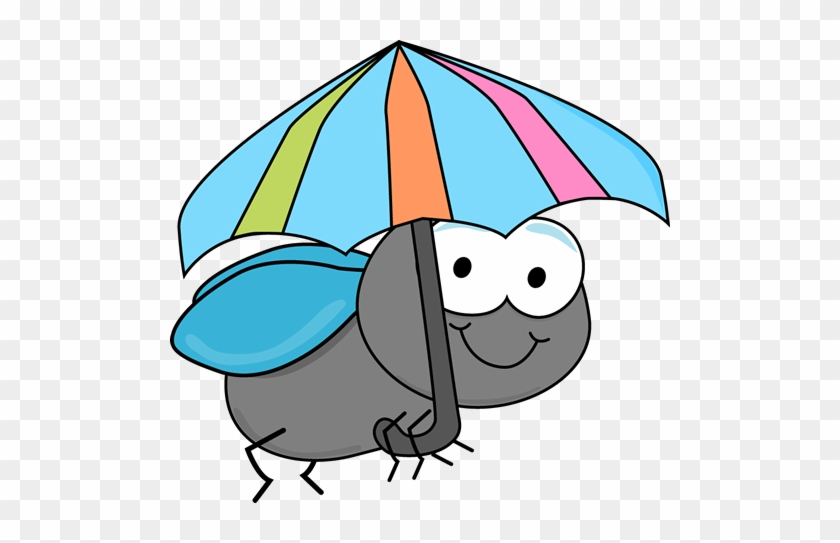 Fly And Umbrella - Bee With Umbrella Clipart #8648