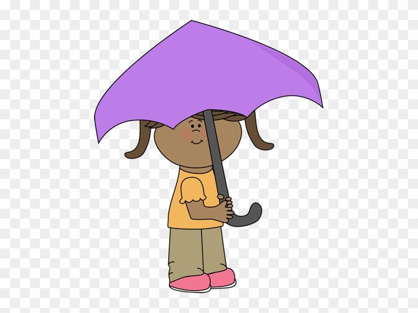 Girl Under Umbrella - Under Clip Art #8695