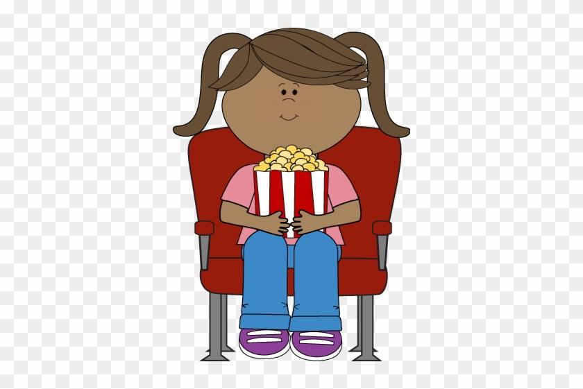 Girl Watching Movie In Theater - Cartoon Girl Watching Movie #8789