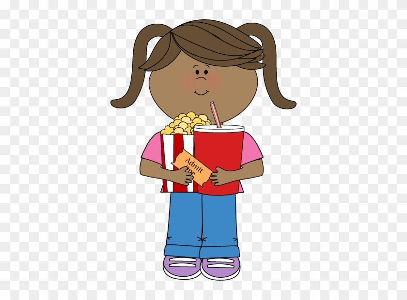 Girl Going To Movies - Trash Helper Clipart #8818
