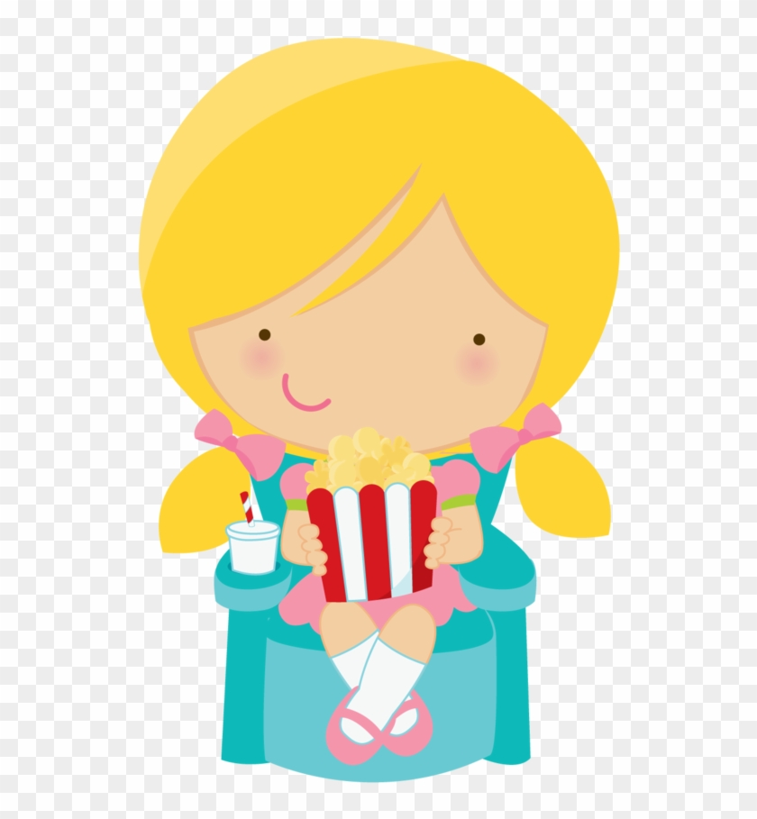 Cute Clipart Girl Eating Popcorn Minus - Girl Eating Popcorn Cartoon #8847