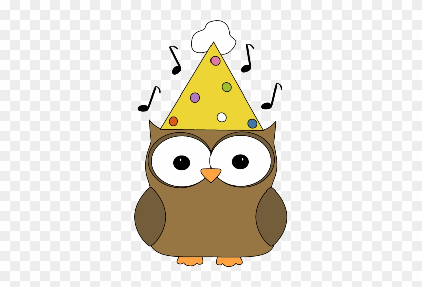 Musical Party Owl - Owl With Party Hat #8906