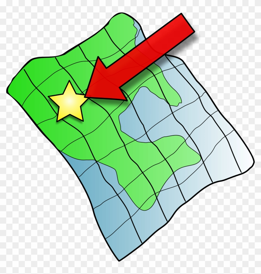 Map Clip Art - Arrow Pointing To A Map #9009