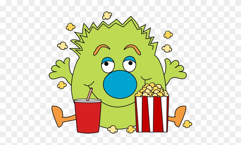 Monster With Popcorn - Halloween Popcorn Clipart #9023