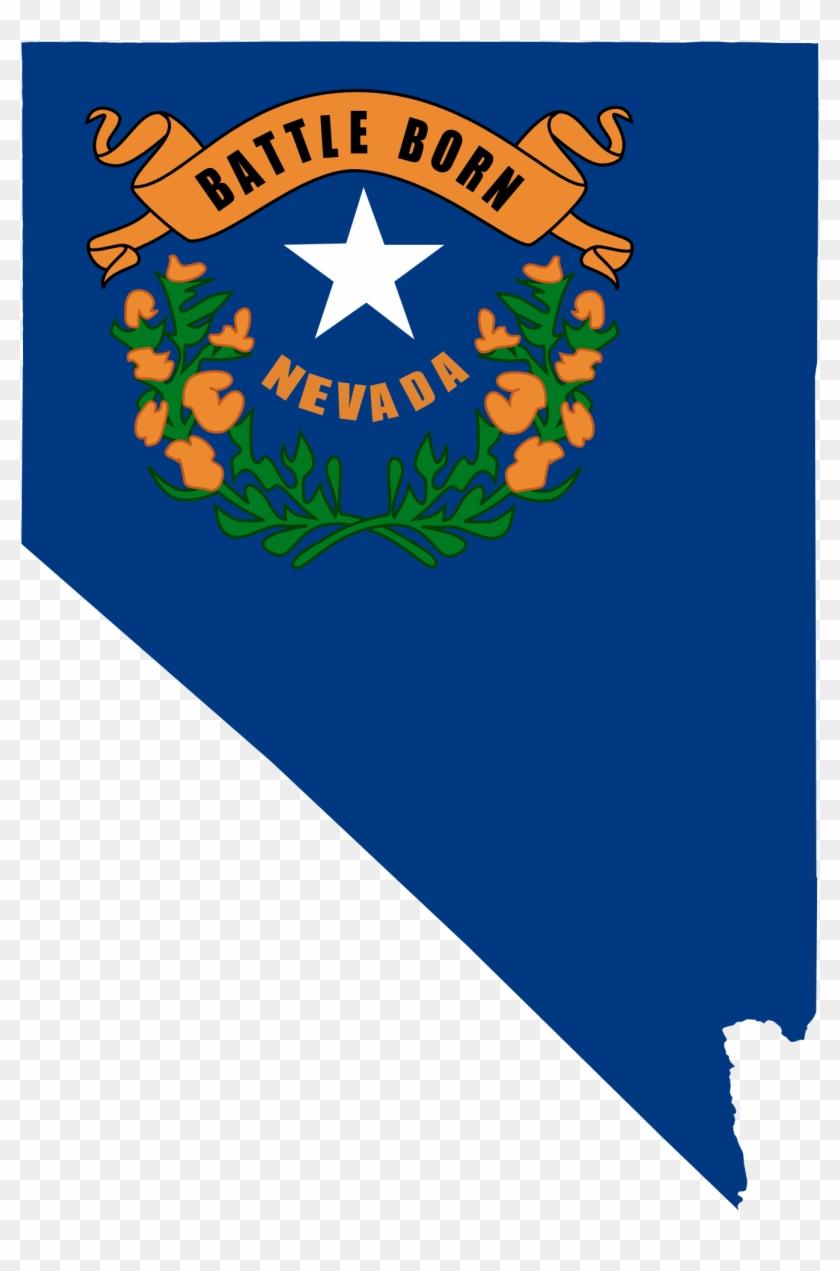 Flag Map Of Nevada Drapeau Clipart - Flag Of Nevada #9124