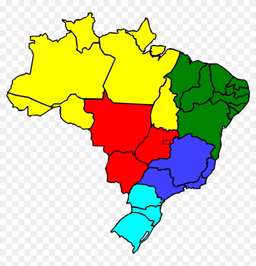 Region Clip Art Download - Brazil Map Color #9133