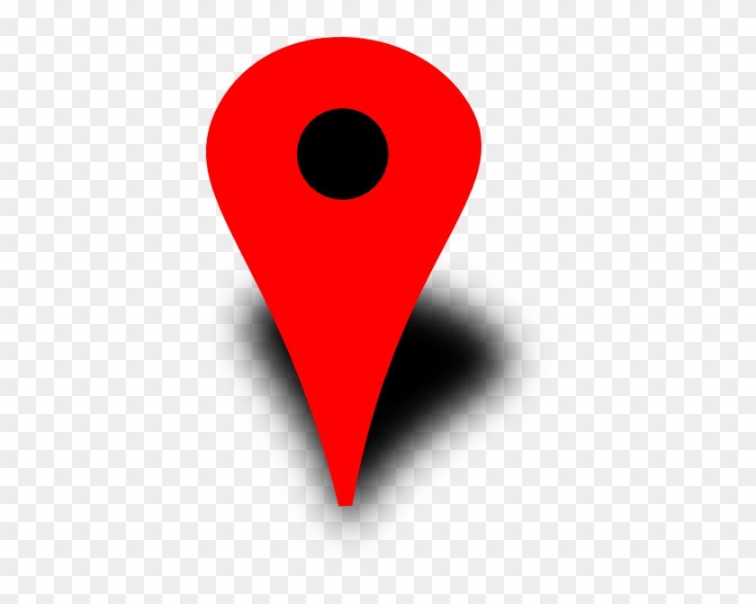 Red Map Pin With Black Dot Clip Art - Google Maps Red Dot #9203