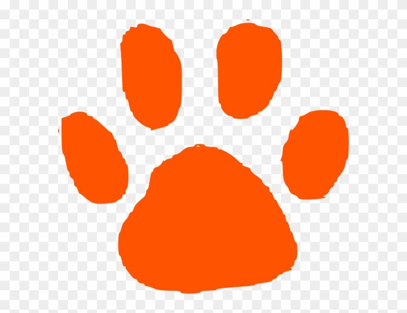 Orange Tiger Paw Print Clip Art Dark Orange Paw Print - Orange Paw Print Clipart #9234