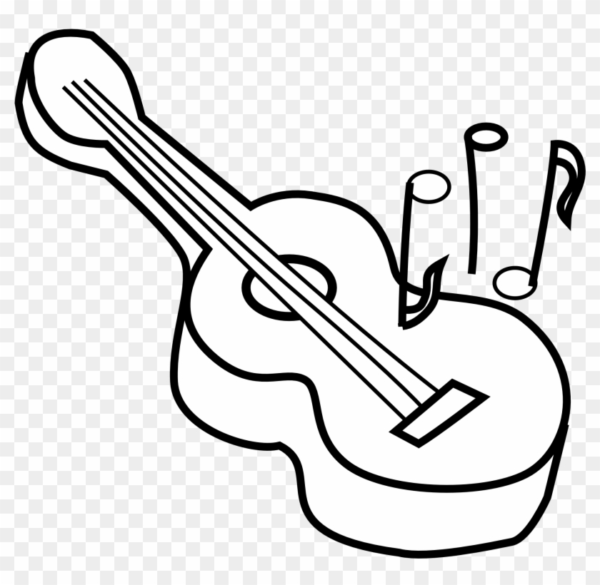 Black And White Guitar Free Download Clip Art Clipart - Guitar Clipart Black And White #9237