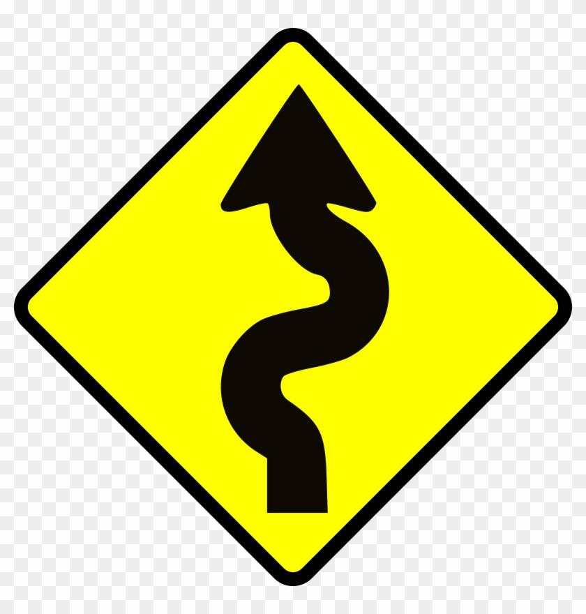 Roadmap Road Map Clipart Free Images - Winding Road Ahead Sign #9293