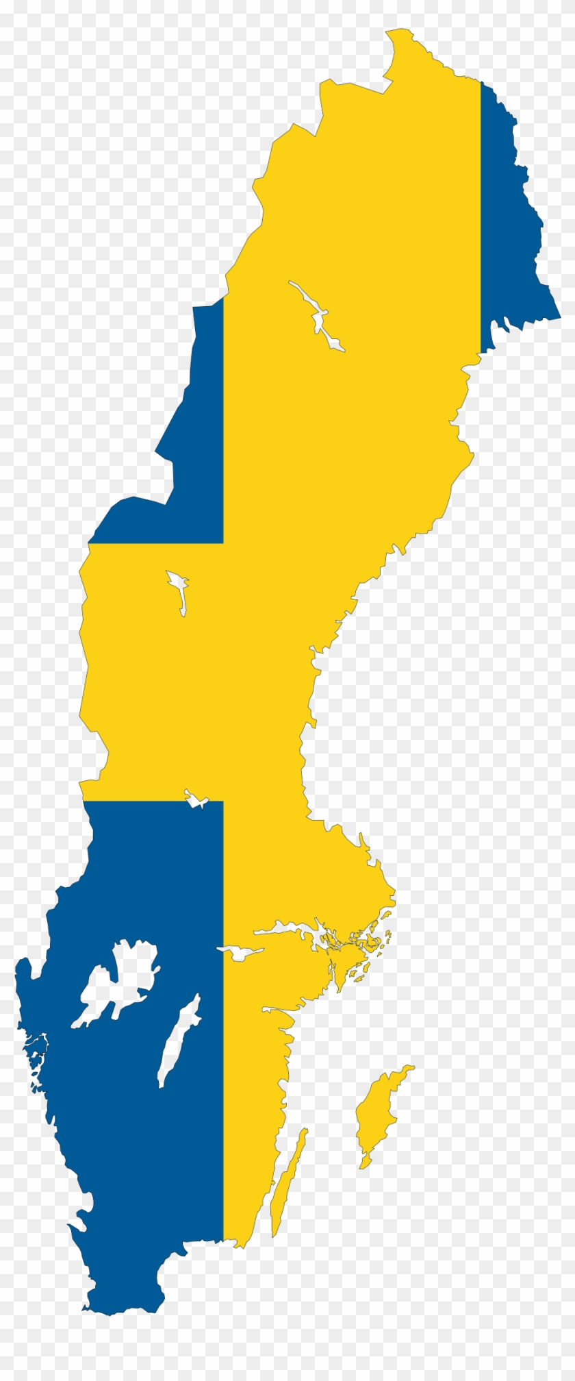 Clip Art Map - Sweden Country With Flag #9343
